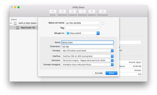 Creare immagine disco protetta password mac osx